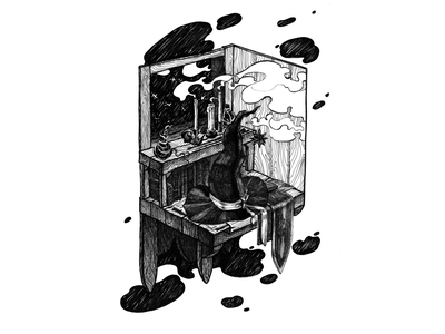 Witch's table counter abstract background candles hatching isometric art books table witch hat witchcraft fineliner рисунок иллюстрация props isometric isometric illustration black and white drawing hand drawing illustration