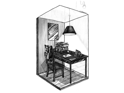 The working place traditional art marker sketch interior interior drawing lamp working space рабочий стол иллюстрация изометрия pencil home isometric illustration isometric art isometric table ultra-fine liner black and white drawing hand drawing illustration