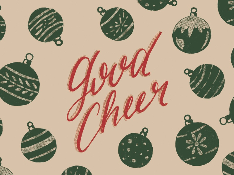 Good Cheer vintage design greeting cards holiday cards milwaukee designer good cheer ornaments christmas vintage holiday art 2018 holiday season procreate app drawing handlettering typography illustrator hand lettering lettering graphic design illustration design