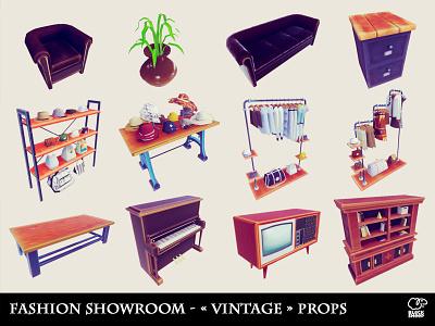 fashion showroom vintage props prop environement vintage 3d art 3d concept design