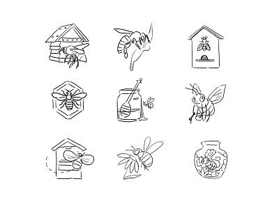 Sketch of logo honeybee honey miel bee icon logo photoshop 2d art 2d concept design
