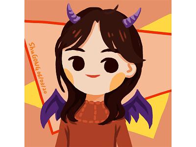 Hanzhu evil girl illustration photoshop 2d art 2d concept design