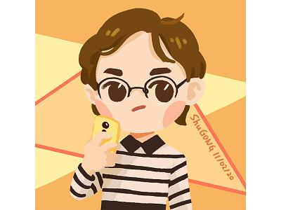 Ben telephone glasses boy illustration photoshop 2d art 2d concept design
