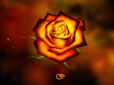 Rose bomb red burned burning fire flower booster mobile logo game interface ui illustration photoshop concept 2d art 2d design