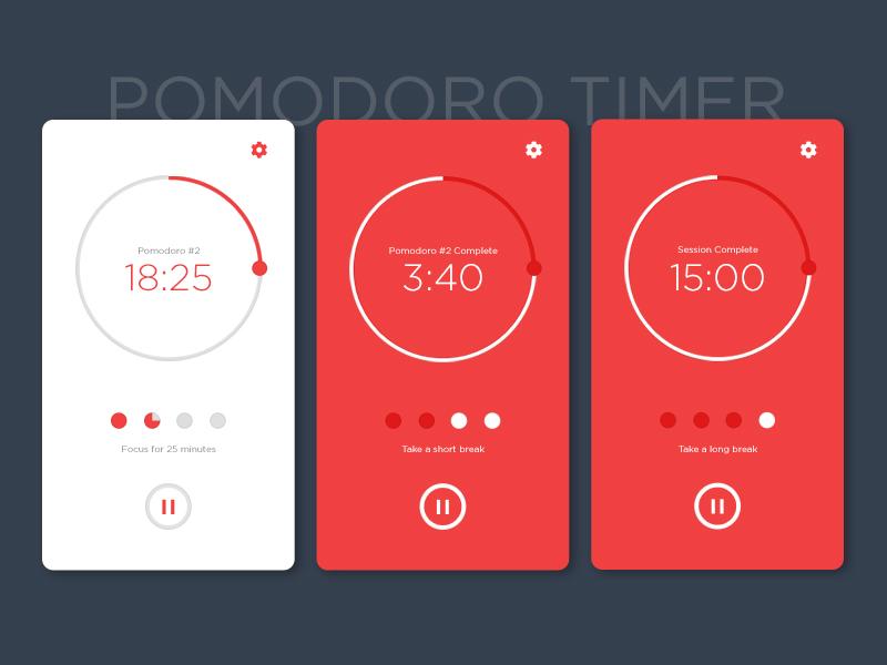Daily UI #14 - Countdown Timer pomodoro countdown timer mobile app ux ui ui design daily ui
