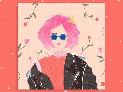 Pink Star Girl - Portrait Illustration