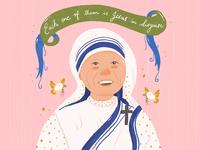Mother Teresa Portrait Illustration