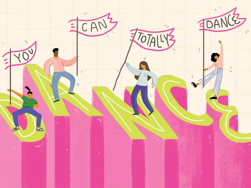 Totally Dance Postcard Illustration postcard design goodtype cute design art licensing photoshop illustrated editorial design digital art hand lettering typography illustration