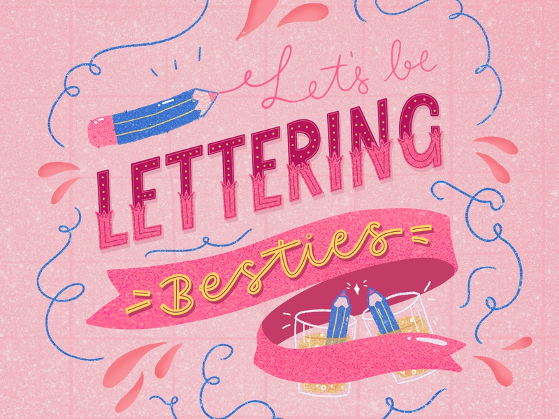 """""""Let's Be Lettering Besties"""" Collab design cute goodtype art licensing editorial design illustrated digital art typography hand lettering photoshop illustration"""