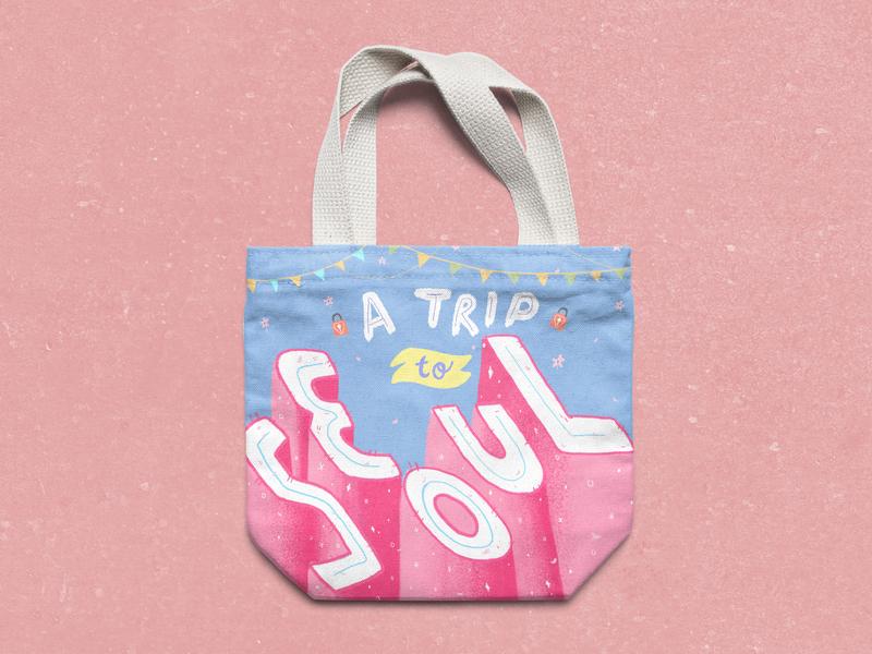 Travel Tote bag Design cute editorial design typography digital art product design art licensing hand lettering photoshop illustration