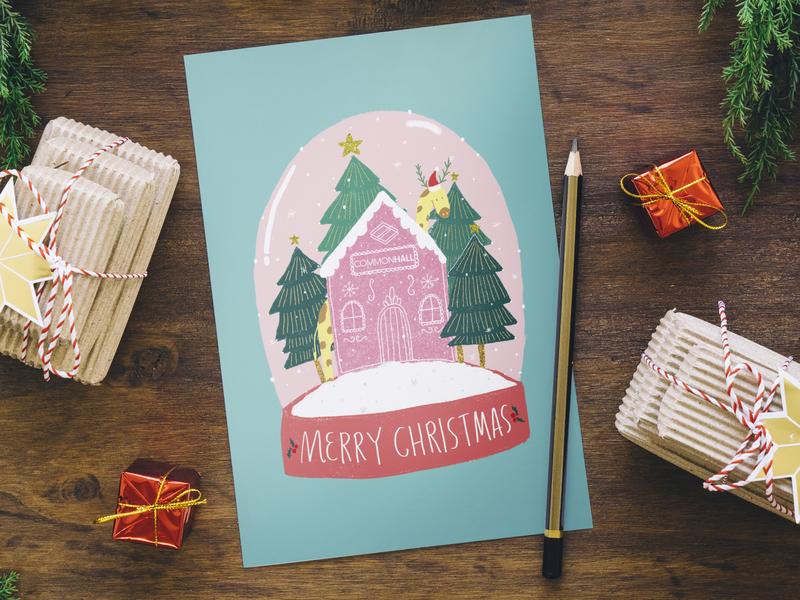 Snow Globe Christmas Card merry christmas greeting card snowflake hand lettering art licensing design christmas christmas card christmas tree snowglobe illustrated digital art cute photoshop illustration