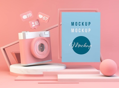 Pink Composition Mockup with Camera