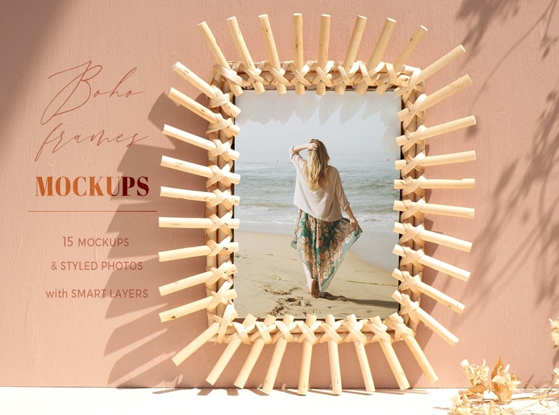 Boho Frames Mockups simple product bundle stationery wedding showcase printing psd mockup set template branding mockups mock-up designer design mockup boho frames frames frame boho frame