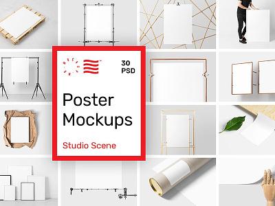 Poster Mockups - Studio Scene postcard printing packaging bundle template print stationary studio scene poster mockups branding logo mockup5