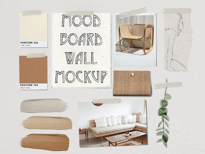 Mood Board Wall Mockup - PSD