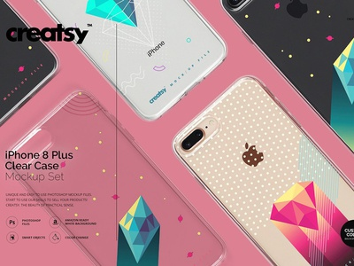 iPhone 8+ Clear Case Mockup Set mockup mock-up iphone phone iphone 8 plus case cases cover covers iphone clear case iphone 8 case clear case