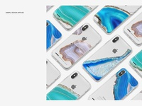iPhone X Clear Case Mockup Set Silv.