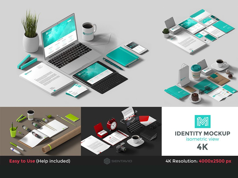 Identity Mockup Isometric view 4K mock-up hero image corporate isometric creative isometric view identity mockup 4k header image scene generator mockup
