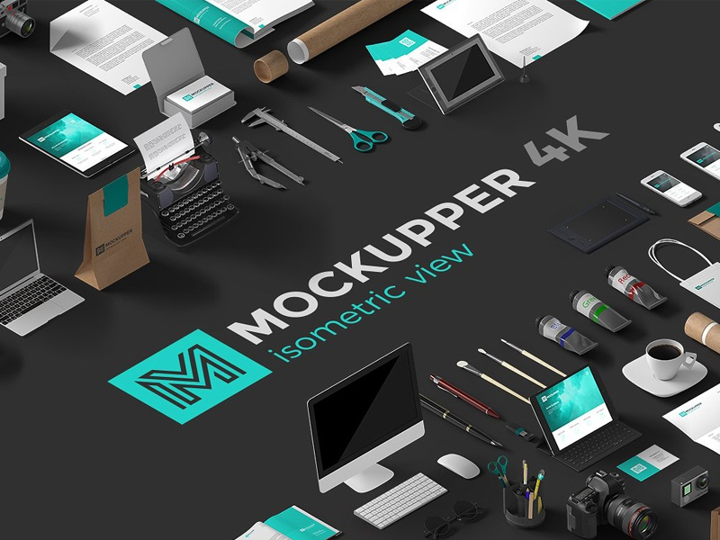 Mockupper Scene Generator Isometric corporate stationary design creative creator scene header background hero image isometric view isometric scene generator scene creator mockup
