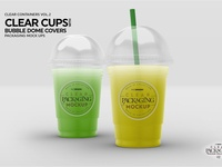 Clear Cups with Dome Covers Mockup