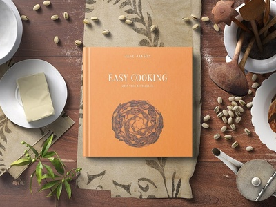 Square Hard Cover Cook Book Mockup