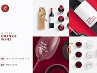 Wine Bottle Glass Bag PSD Mockup