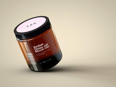 Amber Glass Jar Mock-Up