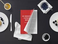 A5 Magazine Mockup - Breakfast Set
