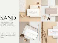 Sand Business Card Photo Mockups
