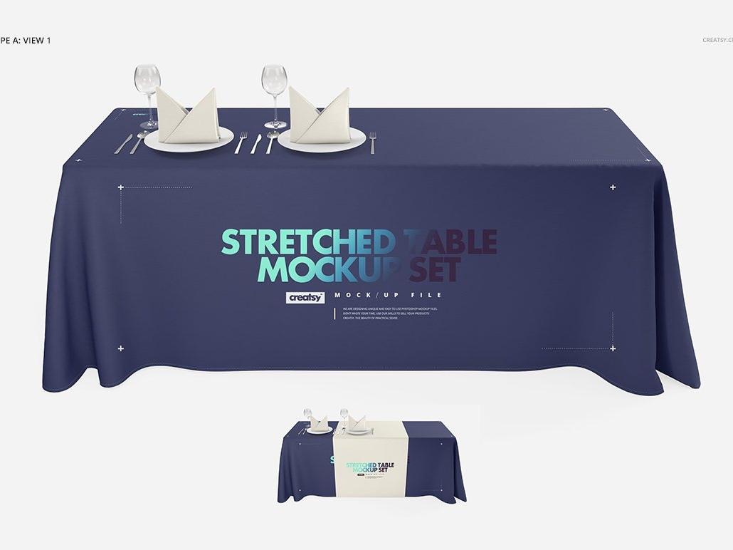 Imprinted Tablecloth Mockup Set printing print design template branding mockups mock-up mockup table design stretched table mockup stretched table mockup set tablecloth imprinted table imprinted table mockup set table mockup table