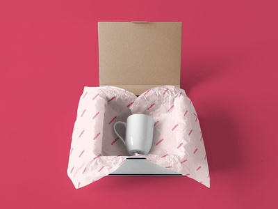 Mailing Box & Wrapping Paper Mockup