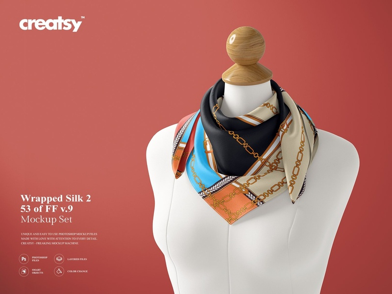 Wrapped Silk Scarf Mockup (53/FFv 9 by Mockup5 on Dribbble