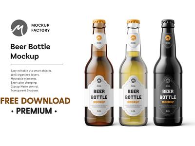FREE Premium Download - Beer Bottle Mockup