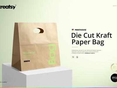 Die Cut Kraft Paper Bag Mockup Set