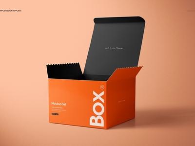 Chipboard Gloss Gift Box Mockup Set