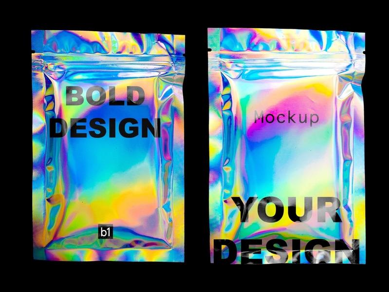 HOLO - Holographic Pack Mockup mock-up mockup holographic foil packaging package bag plastic texture wrap feminine holography mockups holography mockup holography holo foil pack holographic mockups holographic mockup holographic pack holographic