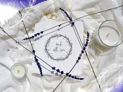 Lavender & Wood. Wedding set photo