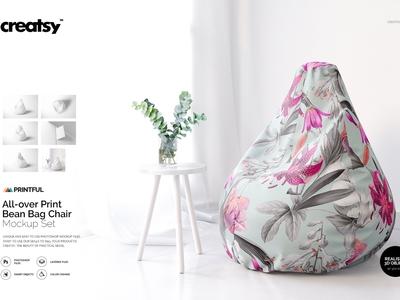 All-over Print Bean Bag Chair Mockup