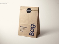 Lunch Kraft Paper Bag Mockup Set