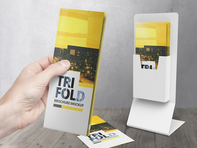 High-Res Trifold Brochure Mockup