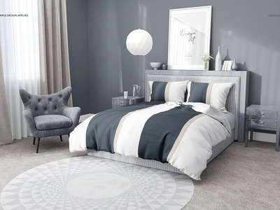 Bedroom Scene 3 Bedding Mockup Set