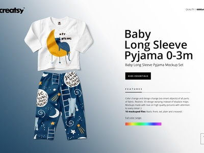 Baby Long Sleeve Pyjama Mockup Set