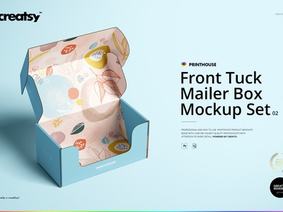Front Tuck Mailer Box Mockup Set 02