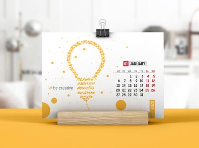 Desk Calendar With Wooden Stand Mockup 02