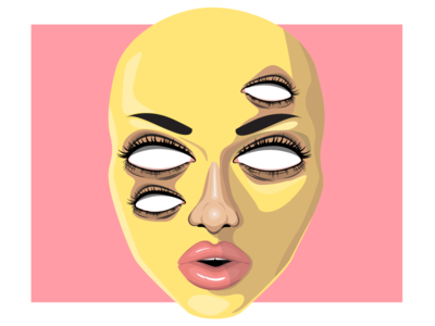 Cognition illustration portrait face pink eyes yellow
