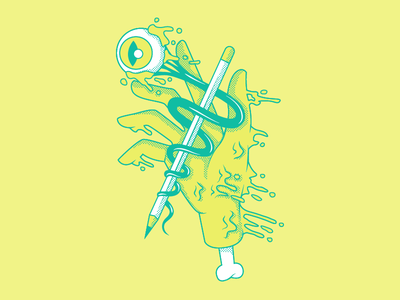 Gooping Hand illustration pencil eyeball goop slime green