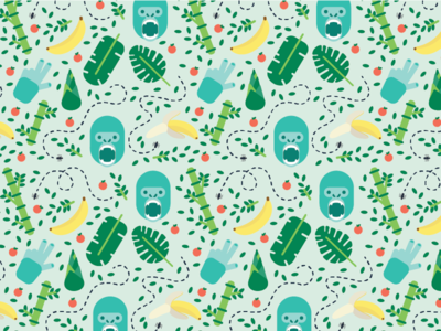 Gorilla Pattern illustration pattern banana gorilla