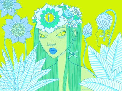 Princess of Another World plants forest leaves eyes face illustration nature eyeball princess flower green neon