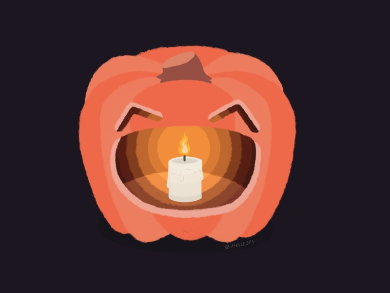 Happy Spooky Season! light candlelight fire orange spooky season spooky halloween happy halloween happy smiley face jackolantern candle pumpkin design face illustration