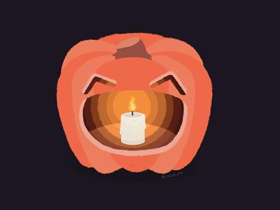 Happy Spooky Season! light candlelight fire orange spooky season spooky halloween happy halloween happy smiley face jackolantern candle pumpkin design face illustration